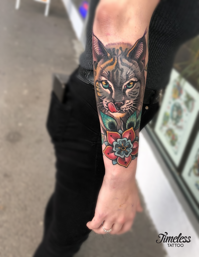 neo traditional tattoo cat