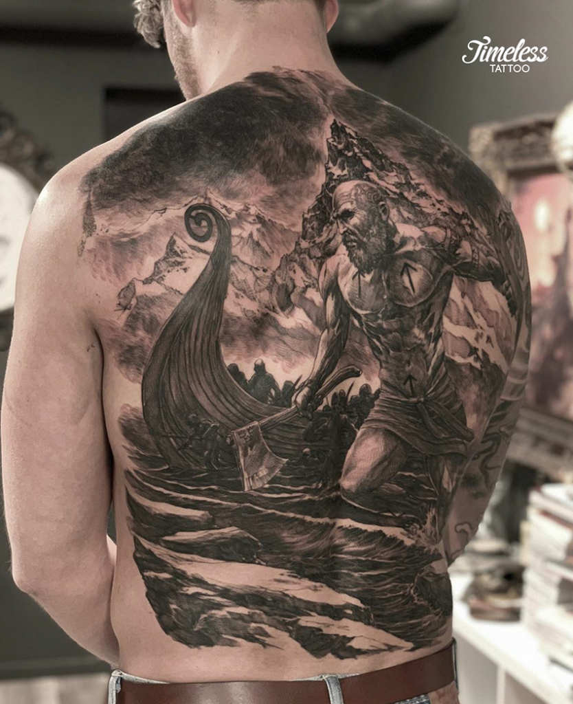 viking tattoo backpiece