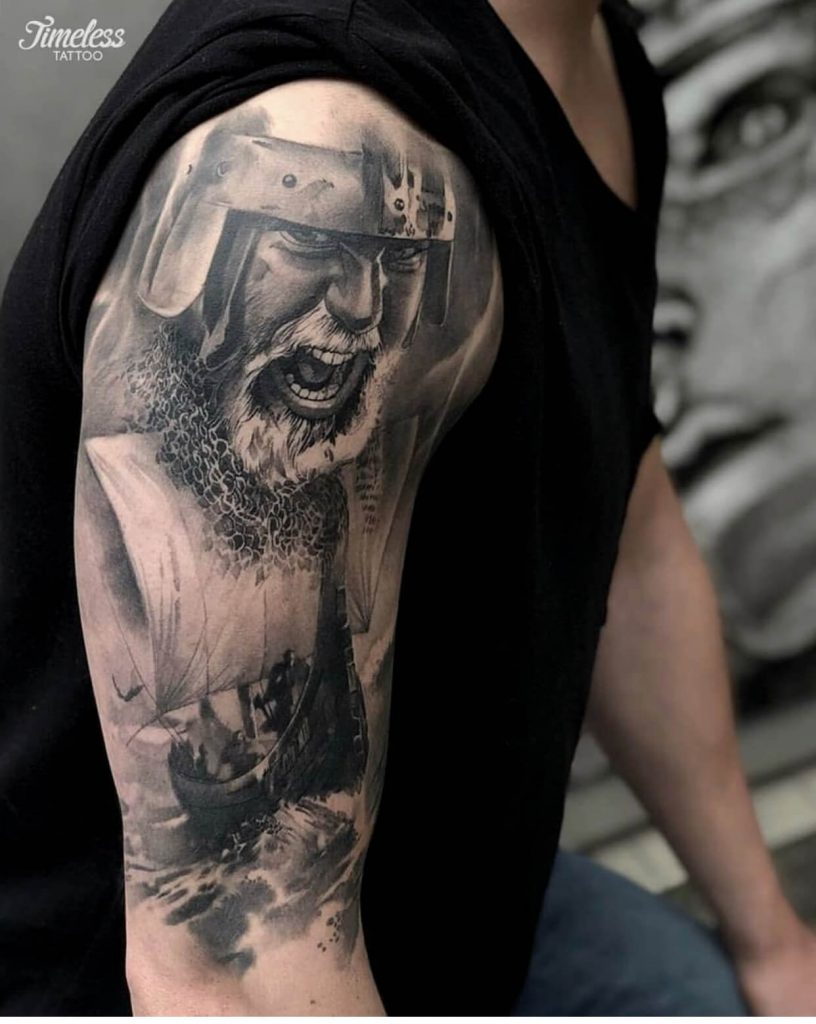 Viking ship and warrior tattoo by Biex