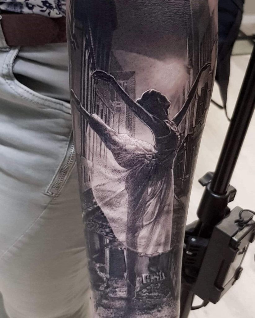 realistic ballerina tattoo