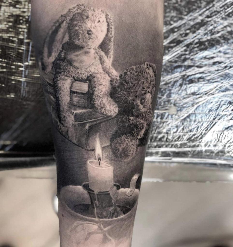 ralistic teddybear tattoo