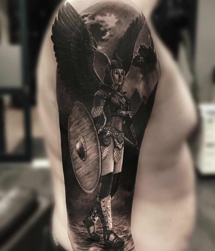 realistic valkyrie tattoo
