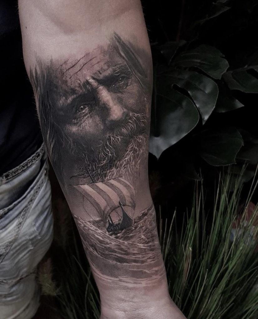 realistic viking tattoo